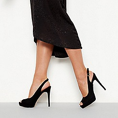 Faith - Black suedette 'Looker' high stiletto heel sling back shoes