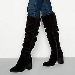 Faith - Black suede block heel knee high boots