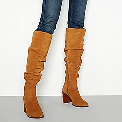 Faith - Tan suede block heel knee high boots