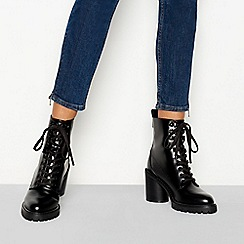 Faith - Black 'Barc' block heel lace up boots