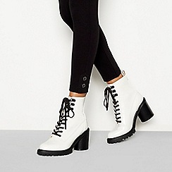 Faith - White 'Barc' block heel lace up boots