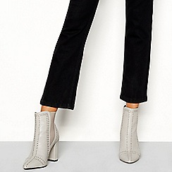 Faith - Grey studded 'Beale' block heel Chelsea boots
