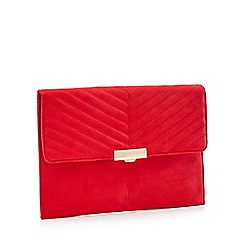 Faith - Red Suedette 'Perrie' Clutch Bag
