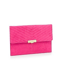 Faith - Pink suedette 'Perrie' clasp fastening clutch bag