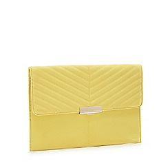 Faith - Yellow Suedette 'Perrie' Clutch Bag