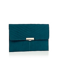 Faith - Green suedette 'Perrie' clasp fastening clutch bag