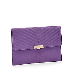 Faith - Purple Suedette 'Perrie' Clutch Bag