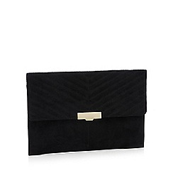 Faith - Black suedette 'Perrrie' clasp fastening clutch bag