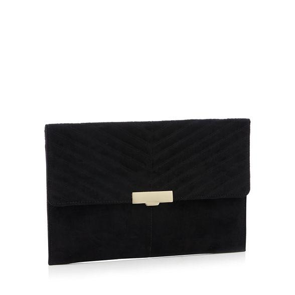 Black clutch fastening suedette 'Perrrie' Faith bag clasp RwxUqBACB