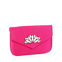 Faith - Pink crystal embellished satin 'Peaches' clutch bag