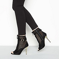 Faith - Black 'Gigi' stiletto heel lace up boots