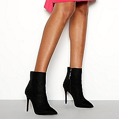 Faith - Black 'Kim' studded stiletto heel boots