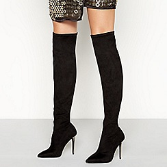 Faith - Black suedette 'Beyonce' high stiletto heel knee high boots
