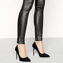 Faith - Black suedette 'Naomi' high stiletto heel shoes