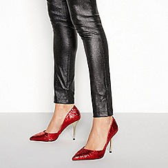 Faith - Red glitter pointed stilleto heel shoes