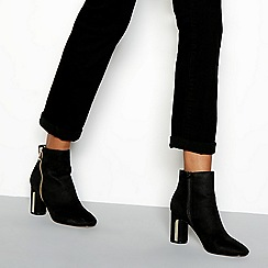 Faith - Black 'Betino' zip trim heeled ankle boots