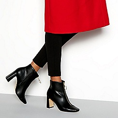 Faith - Black faux leather 'Bare' high block heel ankle boots
