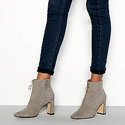 Faith - Grey zip front suedette 'Bare' high block heel ankle boots