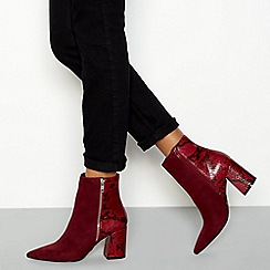 Faith - Wine red snake effect 'Bake' block heel ankle boots