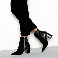 Faith - Black croc effect 'Bake' block heel ankle boots