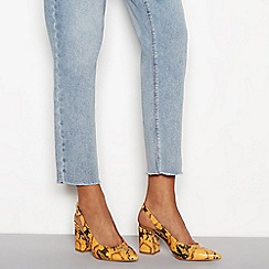 Faith - Yellow 'Cake' snakeskin block heel slingbacks sandals