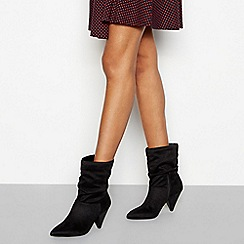 Faith - Black suede-effect ruche cone heel boots