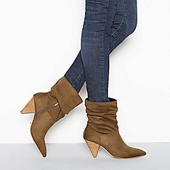 Faith - Khaki suedette ruched high block heel ankle boots