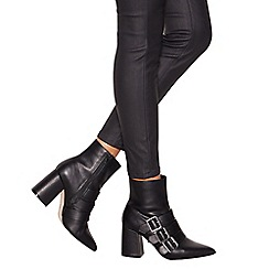 Faith - Black 'Bree' bucked heeled ankle boots
