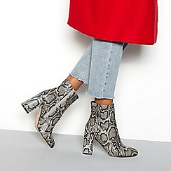 Faith - Multi faux leather snake print 'Britney' high block heel ankle boots
