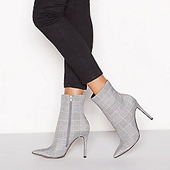 Faith - Black check print 'Beck' high stiletto heel pointed ankle boots