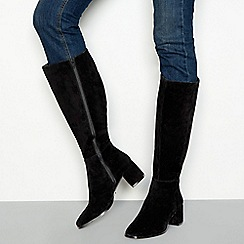 Faith - Black suede 'Markle' mid block heel knee high boots