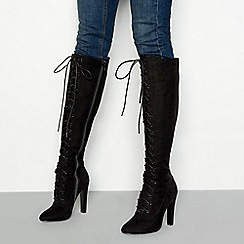 Faith - Black suedette 'Madame' high heel knee high boots