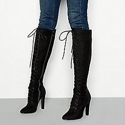 Faith - Black suedette 'Madame' high heel knee high boots