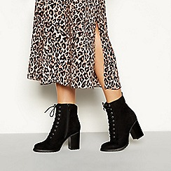 Faith - Black 'beats' lace up block heel ankle boots