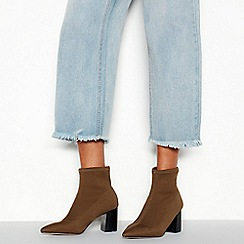 Faith - Khaki 'Bae' High Block Heel Ankle Sock Boots