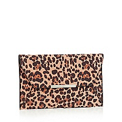 Faith - Multicoloured leopard print suedette 'Party' envelope clutch bag