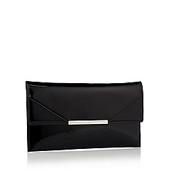 Faith - Black patent faux leather 'Patricia' clutch bag