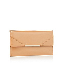 Faith - Natural patent faux leather 'Patricia' clutch bag