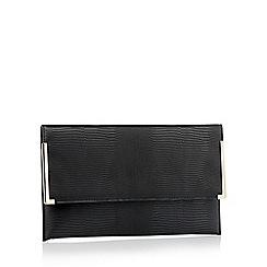 Faith - Black textured faux leather 'Petra' clutch bag