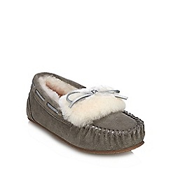 845c35e78cce4b Clarks - Grey suede  Warm Glamour  moccasin slippers