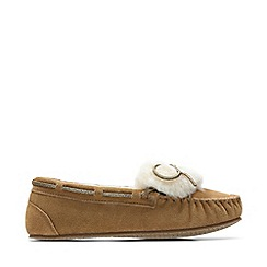 Clarks - Tan Suede 'Warm Galmour' Moccasin Slippers