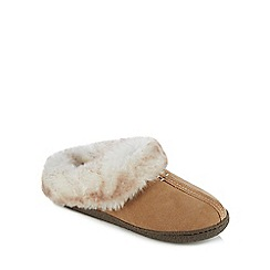 Clarks - Light tan suede 'Home Classic' mule slippers
