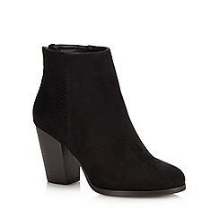 Call It Spring - Black Suedette 'Droedda' Block Heel Ankle Boots