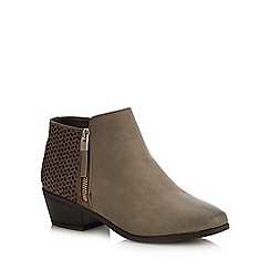 Call It Spring - Taupe 'Mitraria' Block Heel Ankle Boots