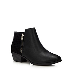 Call It Spring - Black 'Mitraria' Block Heel Ankle Boots
