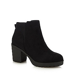 Call It Spring - Black Suedette 'Pynna' Block Heel Ankle Boots