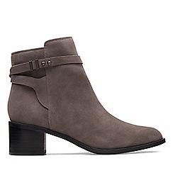 Clarks - Grey suede 'Poise Freya' mid block heel boots