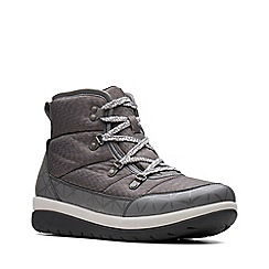 Clarks - Grey 'Cabrini Cove' mid wedge heel boots