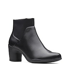 Clarks - Black leather 'Un Rosa Mid' mid block heel ankle boots