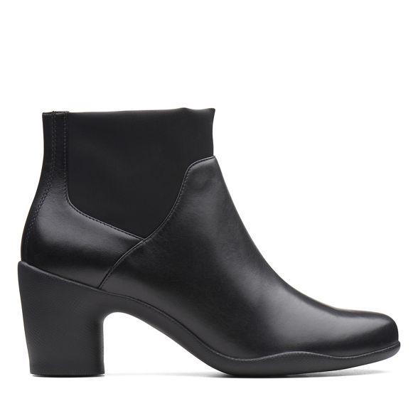 mid Rosa Mid' Black heel Clarks ankle boots block 'Un leather XqBIAw